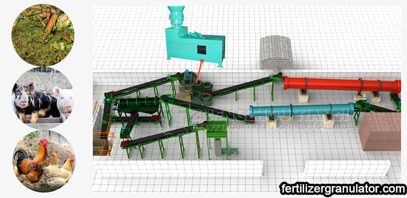 Flat die granulator organic fertilizer production line